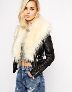 Black Multicolor Contrast Fur River Island Biker Jacket With Faux Fur Collar @ ASOS $125