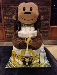 New Baby Shower Ideas For Boys Themes Monkey Diaper Cakes Ideas Baby Shower Crafts, Boy Baby Shower Themes, Baby Shower Parties, Baby Boy Shower, Baby Shower Monkey, Shower Gifts, Monkey Diaper Cakes, Diaper Cake Boy, Nappy Cakes