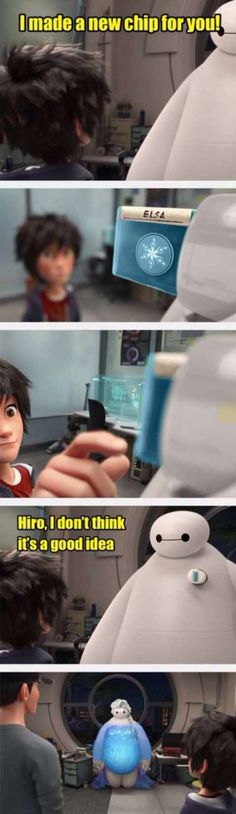 Baymax turns into Elsa