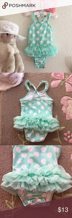 Adorable baby Swimsuit 12m UPC 50+ UPF 50+ ,Super cute swimsuit for 12 months baby! With cute ruffles & lace trimming on bands and snaps for easy diaper changing. Lovely soft mint color. JUST WASHED WITH DREFT BABY LAUNDRY DETERGENT & READY TO GO, EXCELLENT CONDITION❌PRICE Is PRETTY FIRM❌ Circo Swim One Piece