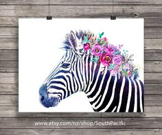 Zebra art Watercolor floral mane Rainbow Zebra Printable art Graphic black and watercolor zebra print African animal decor Zebra Painting, Zebra Art, Watercolor Animals, Floral Watercolor, Watercolour, Zebra Kunst, Rainbow Zebra, Free Prints, Wall Prints