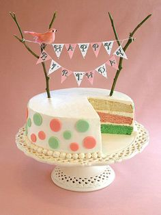 10 pretty birthday cakes with bunting from Pinterest- slide 3.