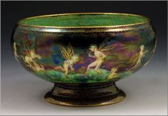 Wedgwood Fairyland Lustre Footed Bowl. 2.5 inches tall. 4.5 inches in diameter.