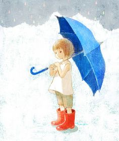 yokotanji:    rainy season has come, BUT IT REALLY DOESN'T MATTER AS LONG AS I HAVE MY RED BOOTS AND BLUE UMBRELLA……..ccp