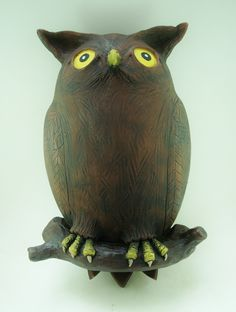 Sculpted owl by Keith Lehman of the Sculpting, Owl, Pottery, Bird, Studio, Animals, Design, Whittling, Hall Pottery
