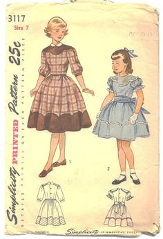 Vintage Original Simplicity Girls ruffled Party dress for girls sewing pattern. Dart fitted bodice, styled with a button back closing, has a scalloped yoke in front which extends slightly past the sho