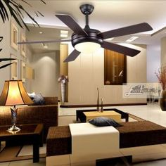 Proud five blades brushed nickel ceiling light fan Plywood Ceiling, Timber Ceiling, Wood Ceilings, Living Room Ceiling Fan, Bedroom Ceiling, Decorate Lampshade, Decorative Ceiling Fans, Metal Canopy, Ceiling Fan With Remote