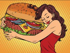 Buy Young Woman Hugging Burger by rogistok on GraphicRiver. Fast food restaurant, diet and hunger Pop Art Essen, Logo Do Instagram, Pop Art Food, Couscous Healthy, Retro Background, Food Trucks Near Me, Retro Vector, Gourmet Dog Treats, Arte Pop