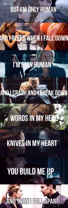 Amazing description of Tris and Four and Katniss and Peeta - Divergent and The Hunger Games aww help they're all so perfect and so sad Human by Christina Perri This is so sad the feels! Divergent Hunger Games, Divergent Fandom, Hunger Games Fandom, Divergent Series, Hunger Games Trilogy, Allegiant Divergent, Divergent Four, Tris And Four, Christina Perri
