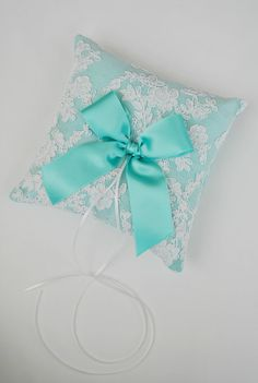 Tiffany Blue Wedding Ring Bearer Pillow  Lace by weddingsandsuch, $45.00