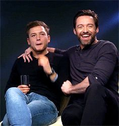 Taron and Hugh - March 2016 Hugh Michael Jackman, Hugh Jackman, Taron Egerton Kingsman, Eddie The Eagle, Australian Actors, The Greatest Showman, Ricky Martin, Gorgeous Men, Beautiful