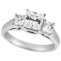 Three-Stone Princess Cut Diamond Engagement Ring in 14k White Gold (0.80 ctw)