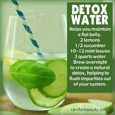 HELPS YOU MAINTAIN A FLAT BELLY2 lemons, 1/2 cucumber, 10-12 mint leaves, 3 quarts water. Brew overnight to create a natural detox, helping ...