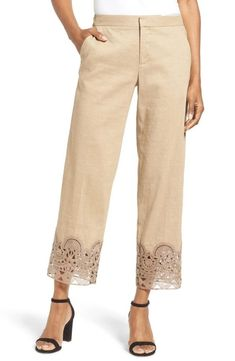 oriana lace hem ankle pants by KOBI HALPERIN. Crisp linen-blend pants tailored with wide-cut legs flaunt romantic lace cuffs at the ankle-skimming hems. Ankle Length Pants, Ankle Pants, Lace Pants, Beige Pants, Pakistani Fashion Casual, How To Hem Pants, Fashion Pants, Casual Outfits, Tailored Trousers