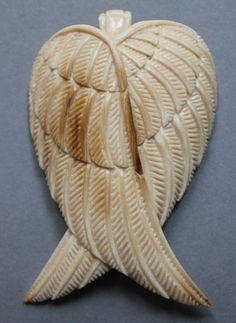 Anhänger Engelflügel Mammut Bein Pendant Wooly Mammoth carving