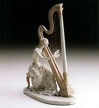 Young Harpist - Entertainment and the Arts Lladro Glazed Joven Con Arpa Very rare. Statues, Willow Tree Figurines, Porcelain Ceramics, Sculpture, Vintage, Glass, Eye, Animal, Music