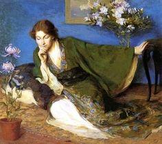 """Japonisme Woman In Kimono"" by Mary Brewster Hazelton (1868-1953)"