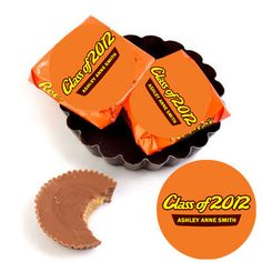 """12 Graduation Party Favors Reeses Cups Labels or Lollipop Stickers 2 5"""" 