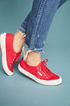 Superga Core Classic Sneakers by in Red Size: at Anthropologie Sneakers Fashion Outfits, Red Sneakers, Classic Sneakers, Sneakers Women, Sporty Outfits, Work Outfits, Cute Womens Shoes, Womens Shoes Wedges, Womens High Heels