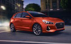 Download wallpapers Hyundai Elantra GT, 2018, Hatchback, new i30, Korean cars, orange i30, Hyundai, 4k