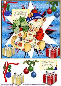 """Kitty very merry Christmas 2 on Craftsuprint designed by Donna Kelly - Cute kitten adorns this approx. 7x7 card front, which includes decoupage and one tag with the sentiment """"A very Merry Christmas"""" Easy to assemble  - Now available for download!"""