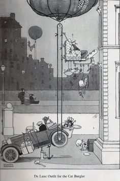 William Heath Robinson is a cartoonist from the first part of the XXth century who spent most of his time to invent complicated mechanical . Heath Robinson, Prop Design, Illustrations And Posters, Vintage Illustrations, Architecture Drawings, Vintage Artwork, Children's Book Illustration, Whimsical Art, Pretty Pictures