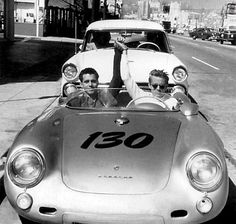 "James Dean and his Porsche mechanic in the Spyder 550 ""Little Bastard""."