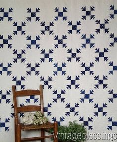 $265 Antique c1880 Indigo Blue & White QUILT Hens & Chicks Beautiful Quilting! www.Vintageblessings.com
