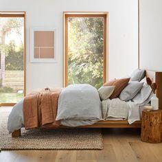 European Flax Linen Classic Stripe Duvet Cover & Shams   West Elm Linen Duvet, Linen Sheets, Toddler Quilt, Bed Duvet Covers, Full Bed, Flat Sheets, Bedding, Classic, Ticking Stripe