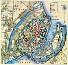 Map of Copenhagen, København,Denmark Old Maps, Antique Maps, Vintage Maps, Disney Magic, Copenhagen Map, Star Fort, Denmark Travel, Scandinavian Countries, Lappland