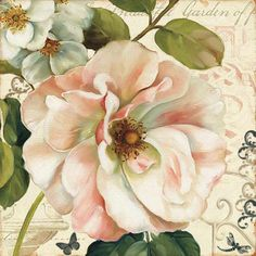 flores vintage Trademark Fine Art Les Jardin II Ca - vintage Art Floral, Motif Floral, Floral Design, Painting Prints, Wall Art Prints, Fine Art Prints, Paintings, Flower Prints, Flower Art