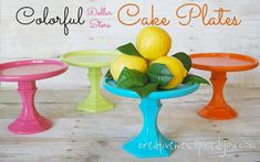 Colorful and Cute Dollar Store Cake Stands - CreativeMeInspiredYou.com