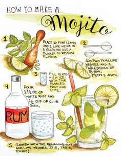 How to Make a Mojito Illustration Art Print / Recipe Art / How To / Bartender Gift / Kitchen Art / Watercolor Kitchen / Handlettered Art Comment faire une impression / recette d'art Mojito Illustration Party Drinks, Cocktail Drinks, Fun Drinks, Alcoholic Drinks, Beverages, Cocktail Gifts, How To Make Cocktails, Mexican Cocktails, Wine Tasting Party