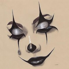 Draw minimalism Fine Art Portrait pencil drawing signed limited edition with certificate - New Ideas Halloween Makeup Clown, Amazing Halloween Makeup, Halloween Eyes, Clown Makeup, Halloween Makeup Looks, Cute Makeup, Sugar Skull Halloween, Makeup Drawing, Makeup Art