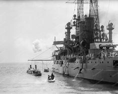 German Squadron Visit USA Battleship 8x10 Reprint Of Old Photo