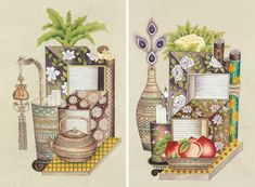 Korean Painting, Chinese Painting, How To Be Likeable, Illustrations And Posters, Still Life, Folk Art, Art Pieces, Embroidery, Contemporary