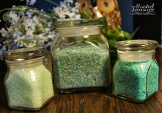 Rusted Treasure: DIY - Bath Salts. I made these using lavender essential oil and used red and blue food color to make them lavender. Totally easy.