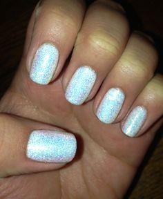 White sparkly shellac nails white nails gelish gel nails mani manicure nailart