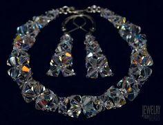 Souprava náramek a náušnice - Swarovski Xilion Bead Crystal AB