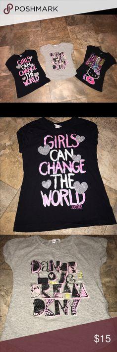 "3 girls shirts justice dkny hello kitty size 6 EUC Girls shirts bundle all size 6 Dkny Justice "" girls can change the world"" Hello kitty   All EUC Justice Shirts & Tops Tees - Short Sleeve"