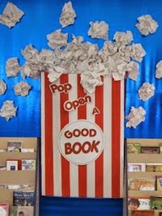 """""""Pop Open A Good Book"""" is fun idea for a reading bulletin board display with a popcorn theme. Students could design popcorn bags and write about their stories on their bag templates.change it up for Sunday School.pop open The Good Book. Reading Bulletin Boards, Bulletin Board Display, Classroom Bulletin Boards, Preschool Bulletin, Movie Classroom, Reading Boards, Classroom Door, Popcorn Bulletin Boards, Popcorn Theme Classroom"""