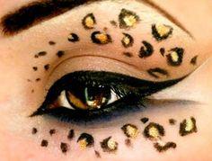 Leopard Print - Make Up Tutorial (Halloween) Leopard Eyes, Leopard Makeup, Tiger Makeup, Brown Leopard, Makeup Art, Beauty Makeup, Hair Makeup, Makeup Eyes, Smoky Eyes