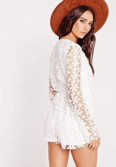 3dde15226235 Missguided - Lace Long Sleeve Plunge Playsuit White