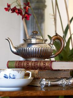 Silver Teapot and Books.such a pretty vignette Vintage Silver, Antique Silver, Silver Teapot, Tea And Books, Ivy House, My Cup Of Tea, Chocolate Pots, High Tea, Tea Time