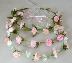 Bridal Floral Crown Ready ship Pink Easter spring by AmoreBride