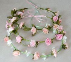 Bridal Floral Crown Ready ship Pink Easter spring by AmoreBride