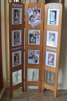 Wedding pictures on display of bride and groom's parents and grandparents