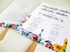 "PRINTABLE 5x7"" Victorian Botanical Floral Wedding Program Fan via Etsy"