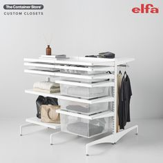 Use Freestanding Elfa to create the perfect storage island in your master closet. Contact us today for a FREE custom design!
