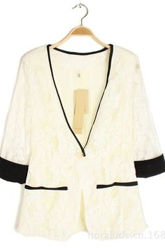 Korean White Chiffon Three Quarter Sleeve Suit